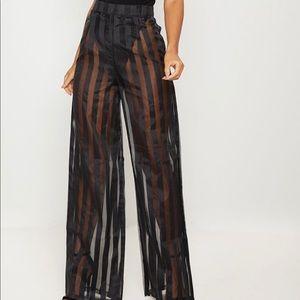 PrettyLittleThing Sheer Wide Leg Stripe Pants